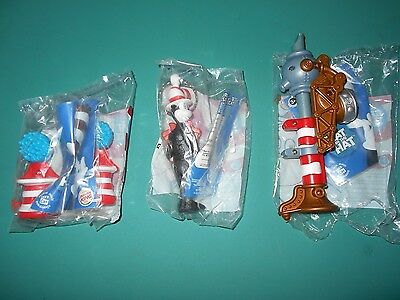 LOT of 3 DR SEUSS CAT IN THE HAT TOYS CAKE TOPPERS BURGER KING (1 Openened)
