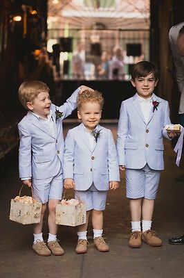 Summer Boys Suits Sky Blue Kid's Groom Wedding Suits Page Boy Formal Party Suit