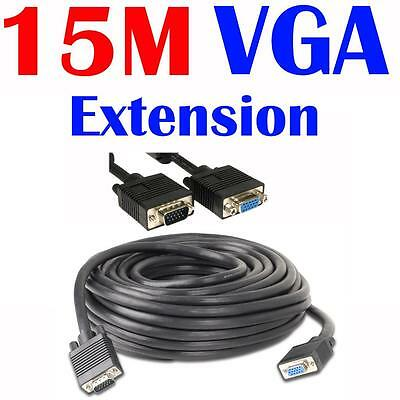 New 15m VGA Extension Cable Male to Female for PC Computer Monitor