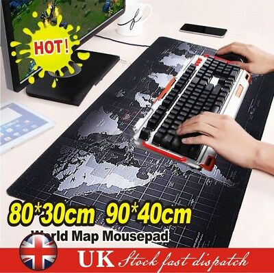 Large Non-Slip World Map Game Mouse Pad Mat For Laptop Computer Keyboard 2 Size