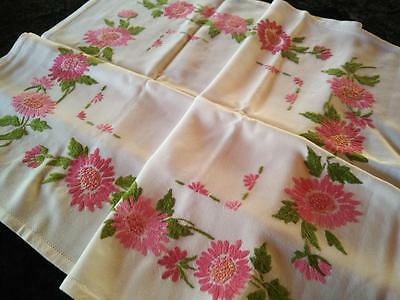 Gorgeous Vintage Hand Embroidered small Tablecloth ~ Pink Daisy Flowers