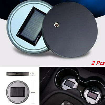 2X Car Solar Cup Holder Drink Bottle Bottom Pad  LED Light Trim Atmosphere Lamp
