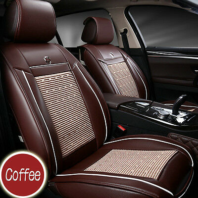 Luxury 3D Breathable Front Seat Cover PU Leather Car Seat Cover Cushion Coffee