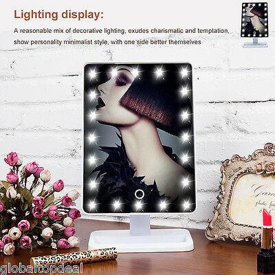 LED Cosmetic Touch Screen Lighted Makeup Shave Mirror Hollywood Vanity Tabletop