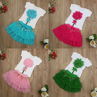 2PCS Kids Baby Girl Floral Party Dress Outfit Tops T-Shirt+Tutu Skirt Clothes UK