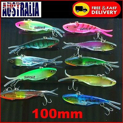 10 Soft Plastic Vibe Transam Fishing Lures Tackle 100mm-Barra-Snapper Jack Lure