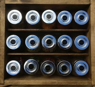 Wooden Spice Rack with Glass Jars & Spices, Dark Oak Colour with Black labels