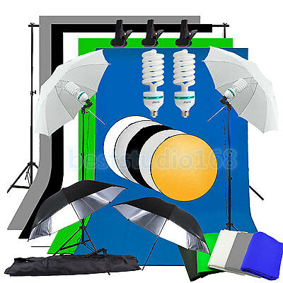 Photo Studio Kits d'éclairage continu 5 Backdrop Parapluie Contexte Light Stand
