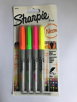 Sharpie Permanent Markers x 4 Colours Fine Bullet Point - Neon