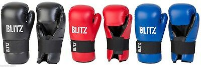 Blitz Pro Leather Semi Contact Open Palm Gloves - Black Blue Red