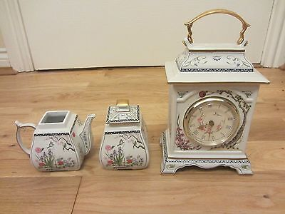 The Franklin Mint Fine Porcelain Mantle Clock Birds And Plants & Pots Etc
