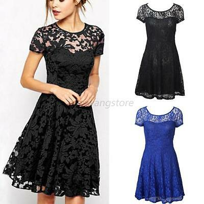 Fashion Women Lace Short Sleeve Party Cocktail Evening Bodycon Prom Mini Dresses