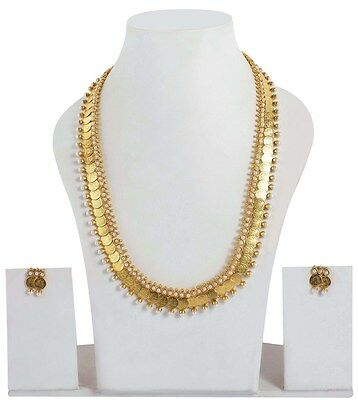 1986 Indian Bollywood Gold Plated Bridal Polki Necklace Earrings Jewelry
