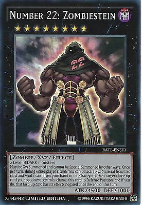 3 X Yu-Gi-Oh Card: Number 22: Zombiestein - Super Rare - Rate-Ense1 -Lim Edition