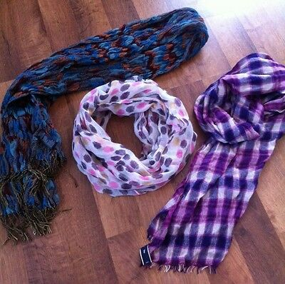 Lot Of 3 Womens Scarves Purple Gap Plaid Dot Infinity Turquoise