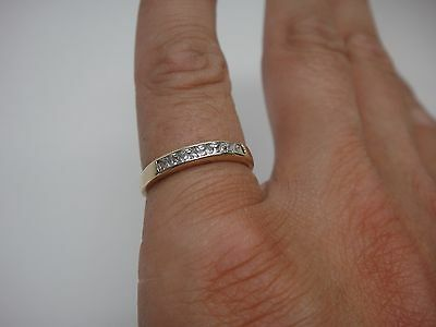 Estate Princess Cut Channel Set 10k Yellow Gold Wedding Anniversary Band Ring
