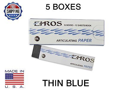 "5 BOXES DENTAL ARTICULATING PAPER THIN (0.003"") BLUE  780 Sheets  MADE IN USA"