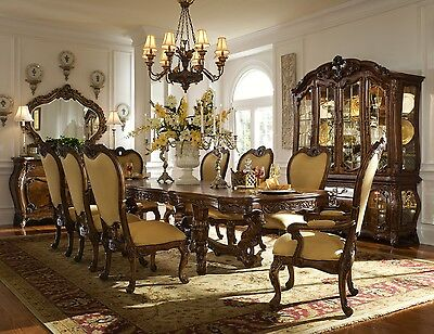 Usa Baroque Style Dining Room Set Table + 6 Chairs + 2 Armchairs + Glass Case +
