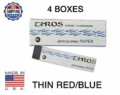 "4 BOXES DENTAL ARTICULATING PAPER THIN (0.003"") RED/BLUE  576 Sheets MADE IN USA"