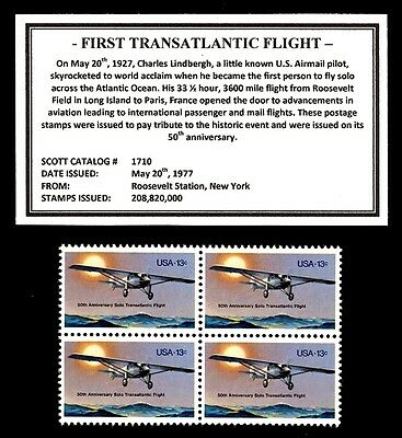 1977 - FIRST TRANSATLANTIC FLIGHT - Mint -MNH- Block of Four Postage Stamps
