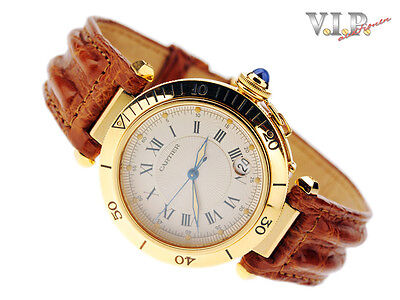 CARTIER PASHA MONTRE UHR HERRENUHR 18K/750er GOLD AUTOMATIC WATCH OROLOGIO RELOJ