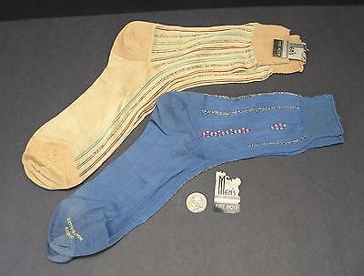 Two Pair ca 1940's Cotton & Rayon Striped Socks w/Label Remnants - Seconds