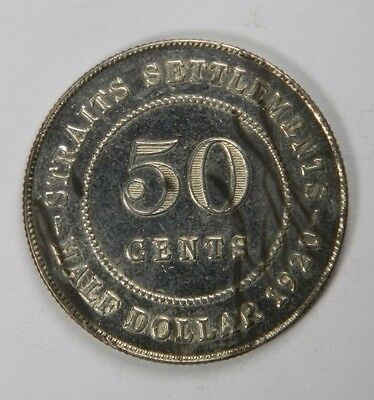 Straits Settlements 1920 50 Cents Half Dollar - Silver Classic! Inv#268