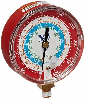 Yellow Jacket 49105 Gauge degrees F Red Pressure, 0-500 psi, R-22/134A/404A,