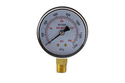 Low Pressure Gauge for Oxygen Regulator 0-200 psi - 2.5 inches
