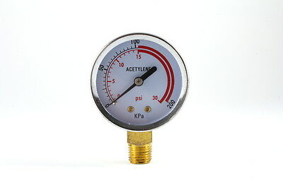 Low Pressure Gauge for Acetylene Regulator 0-30 psi - 2 inches