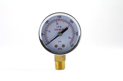 Low Pressure Gauge for Propane Regulator 0-40 psi - 2 inches