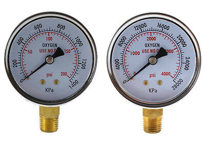 Low and High Pressure Gauges for Oxygen Regulator - 2.5 inches (PAIR)