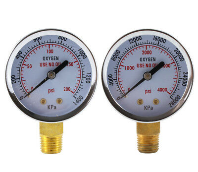 Low and High Pressure Gauges for Oxygen Regulator - 2 inches (PAIR)