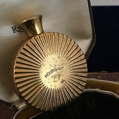 Vintage Perfume Bottle Houbigant Chantilly Gold Plated Brass 1950s Purse Scent