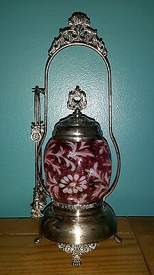 Antique Victorian Cranberry Glass Pickle Castor - Empire Frame & Tongs