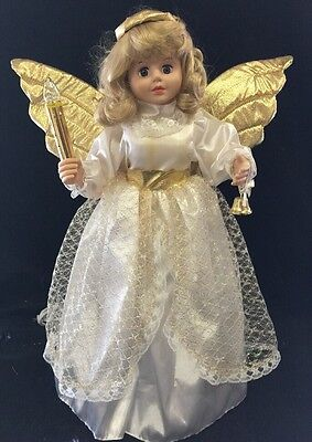 """Telco Animated Motionette Gold Blonde Angel Xmas Display Figure 24"""" Doll Vtg '94"""