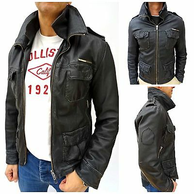 Mens SUPERDRY 'BRAD' Black REAL LEATHER SLIM FIT Jacket Size MEDIUM (1422)