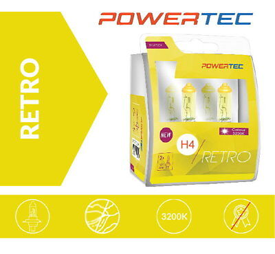 Powertec H4 Retro Gelb Yellow Look Gold Optik Halogen Lampen mit Zulassung