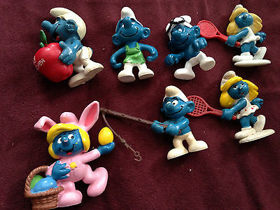 Lot of 7 vintage smurf figurines assorted characters