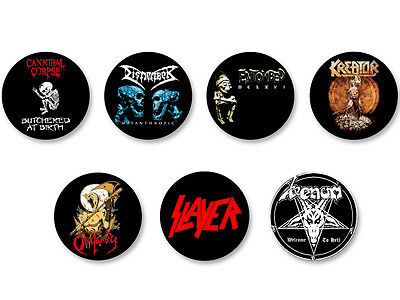 Lot Pack Badge Button Ø25mm Logo Death Metal Bands Groupe