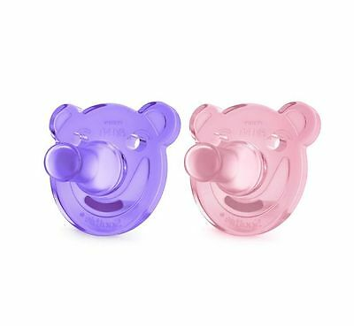 Philips Avent Soothie Pacifier, Pink & Purple, 0-3 Months, 2 Pc Bear Shape NEW