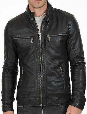 Men Genuine Lambskin Leather Motorcycle Slim fit Jacket Bomber Biker Jacket