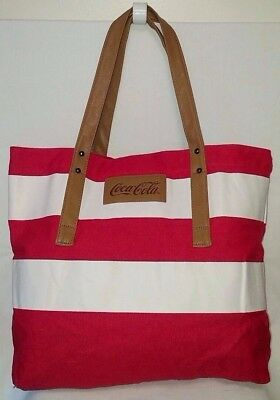 Coca-Cola Red & White Striped Cotton Reusable Shopper Tote - NICE!!