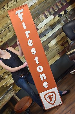 Firestone Tires Gas Oil Sign Service Garage Dealer Nice shape 6ft vertical rare