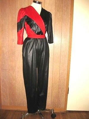 """VTG-80s Space Age""""Starr Track""""Influenced Style Jumpsuit Black/Red- S/M. Perfect!"""