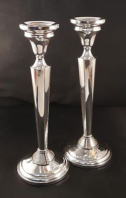 """Beautiful Antique Pair Sterling Cement Weighted 8"""" Candlesticks"""