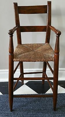 19th Century Child's High Chair with Woven Seat in Excellent Condition