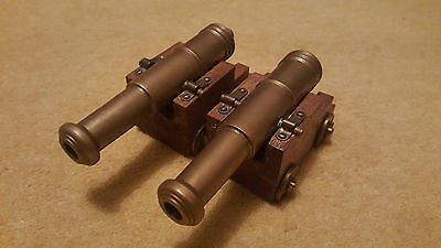 Pair of solid brass model cannons & wood carriages