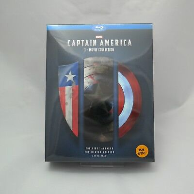 Captain America 3 Movie Collection (2017, Blu-ray) Box Set / Korean Edition