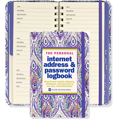 Internet Address Password Log Book Personal Record Organizer Spiral Hardcover